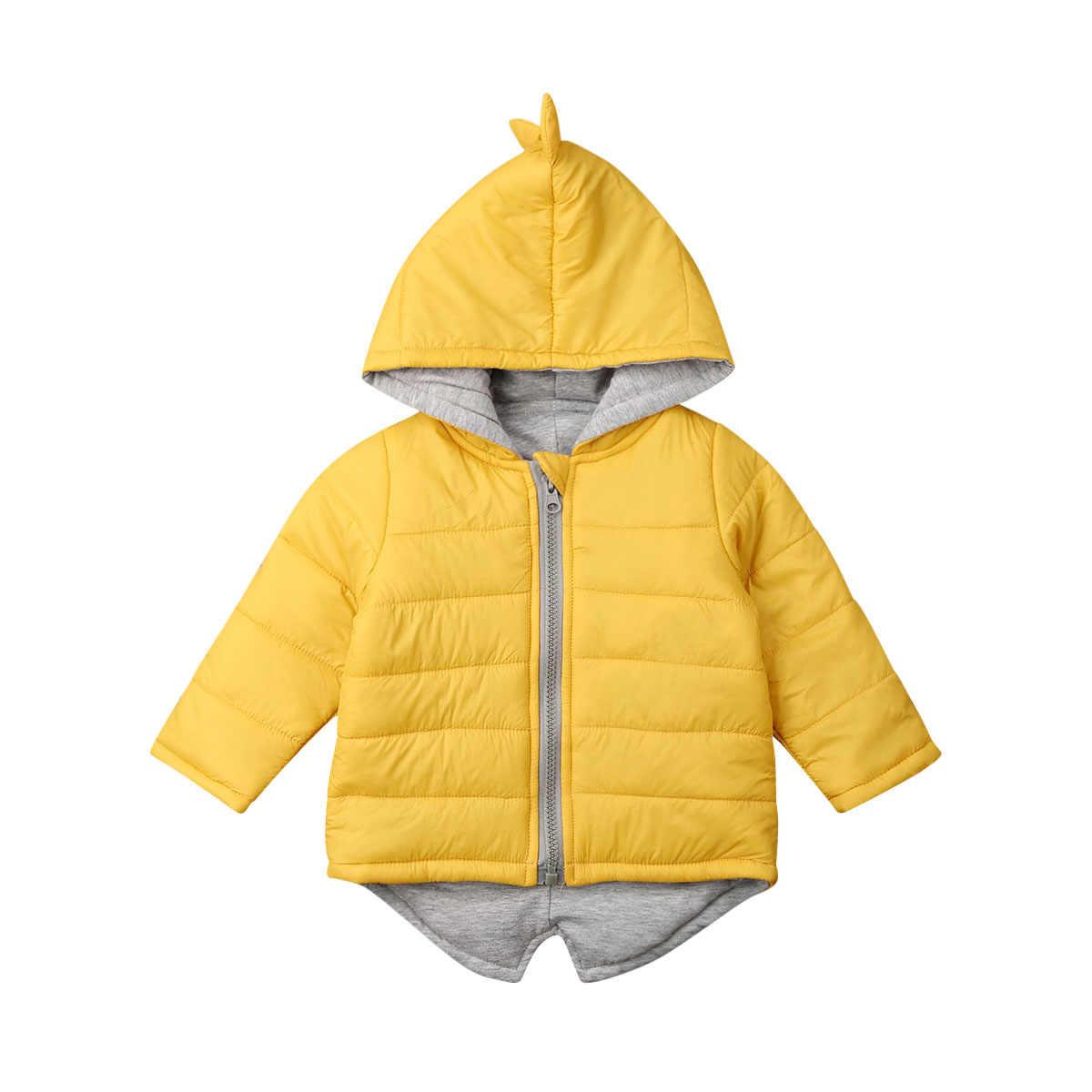 1-7T Kids Peuter Baby Meisje Jongen Hoodie Rits Winter Dikke Jas Warme Jas 3D Dinosaurus Uitloper Jassen jassen
