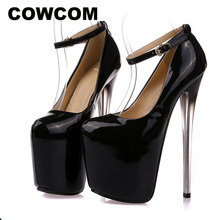 COWCOM kadın pompaları süper yüksek topuklu 19CM gece kulübü 22cm topuklu tek ayakkabı büyük boy 34 43 nefret yüksek 44 47 MJL 6678 12