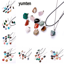 Yumten Irregular Gemstone Charms LOVE Charm Necklace Jade Stone Rope Chain Natural Crystal Pendant Jewelry Making Accessories yumten agate necklace gemstone beads natural stone colares women jewelry crystal accessories statement females chain gioielli