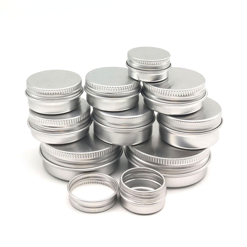 10PCS Cream Jar Tin Cosmetic Lip Balm Containers Nail Derocation Crafts Pot Refillable Bottle Screw Thread Empty Aluminum