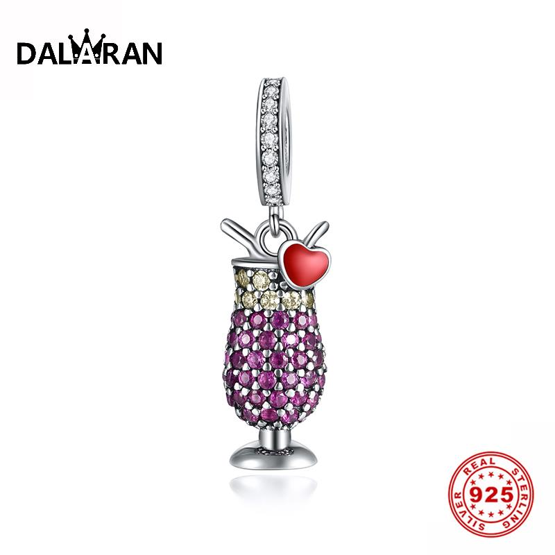 DALARAN 925 Sterling Silver CZ Clear Cocktail Dangle Pendant for Party Jewelry Making Charms Fit Original Diy Bracelet Necklace