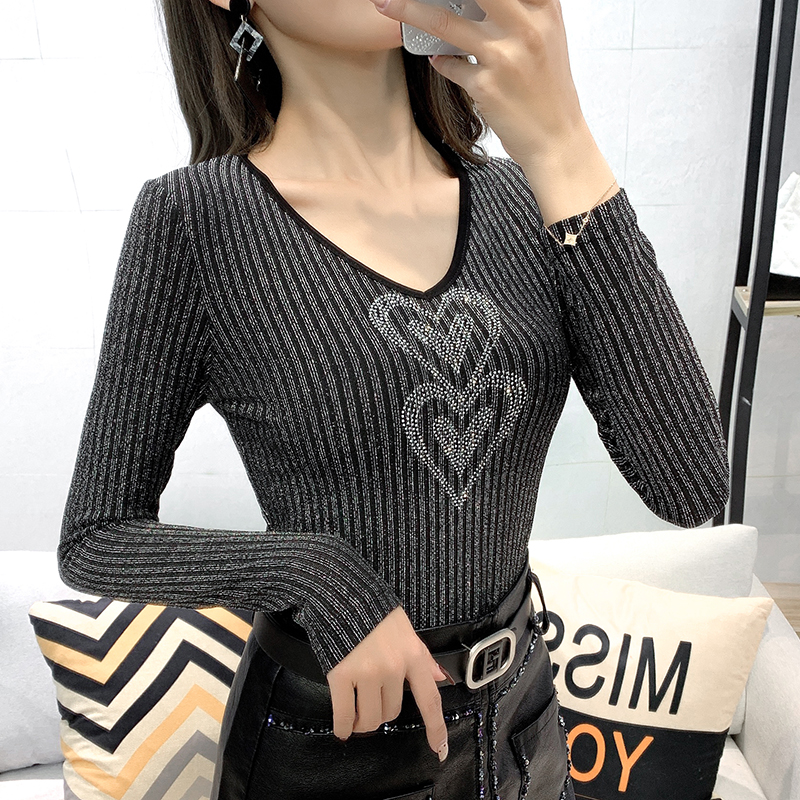 European Clothes Sexy Back Shiny T-shirt 2020 New Spring Autumn Women Fashion Tops Bright Sliver Shirt Ropa Mujer Tees T9D617