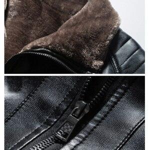 Image 4 - CARANFIER yeni kış motosiklet erkek deri ceket erkekler rüzgarlık PU ceketler erkek dış giyim sıcak PU beyzbol ceketleri boyutu 4XL
