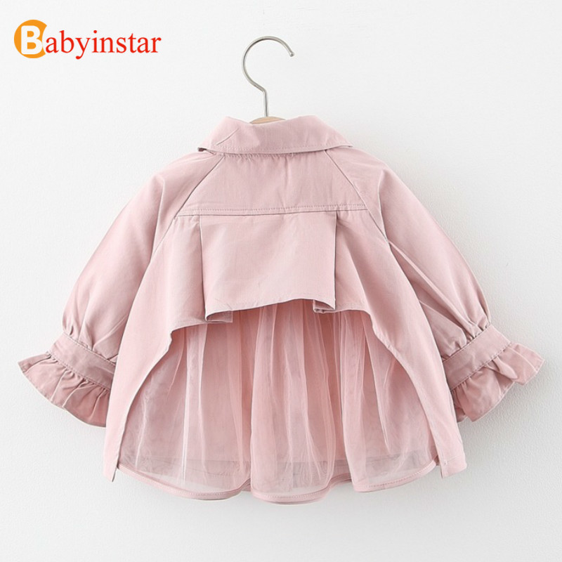 Babyinstar 2020 Baby Girls Clothes Solid Trench Coat Kids Long Sleeve Patchwork Mesh Jacket For Girls Toddler Children Clothes