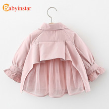 Babyinstar 2020 Baby Girls Clothes Solid Trench Coat Kids Lo