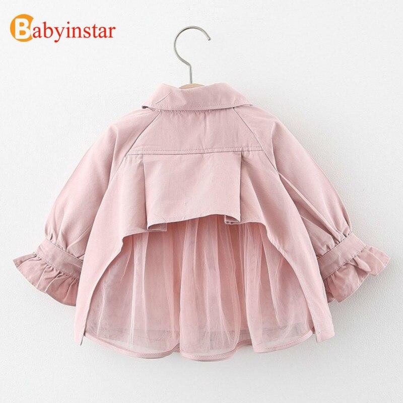 Где купить Babyinstar 2020; одежда для маленьких девочек; Однотонный плащ; детская куртка с длинными рукавами в стиле пэчворк; сетчатая куртка для девочек; одежда для малышей