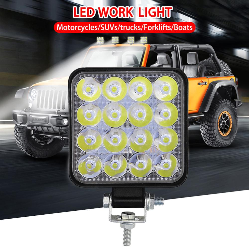 1pcs 12V 24V LED Car Work Light Square 48W 3520LM White Spotlight Off Road Flood Spot Lamp For Car Truck SUV 4WD LED Fog Light