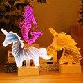 LED 3D батарея Novetly лампы зеркало ночник мультфильм животное Единорог Русалка Сердце Звезда Спальня украшение лампа для детей