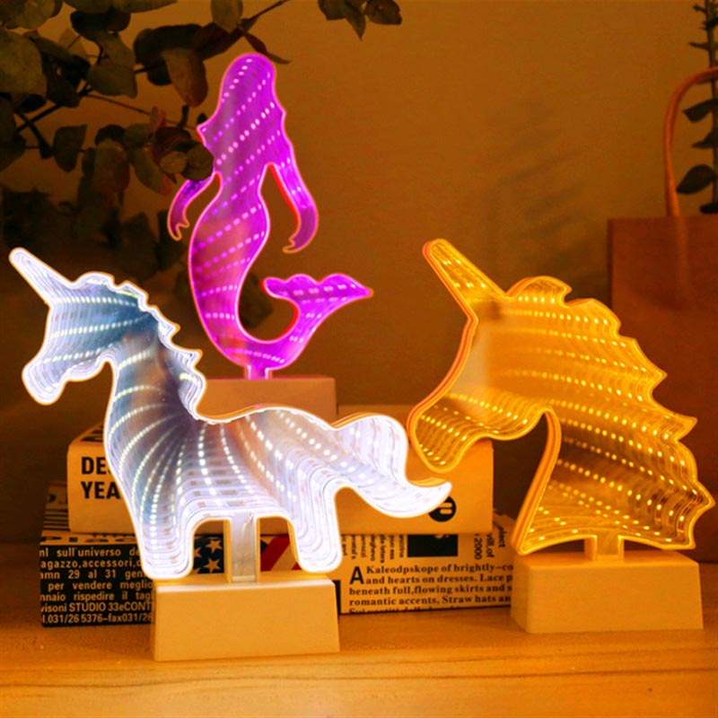 LED 3D Battery Novetly Lamps Mirror Night Light Cartoon Animal Unicorn Mermaid Heart Star Bedroom Decoration Lamp For Children
