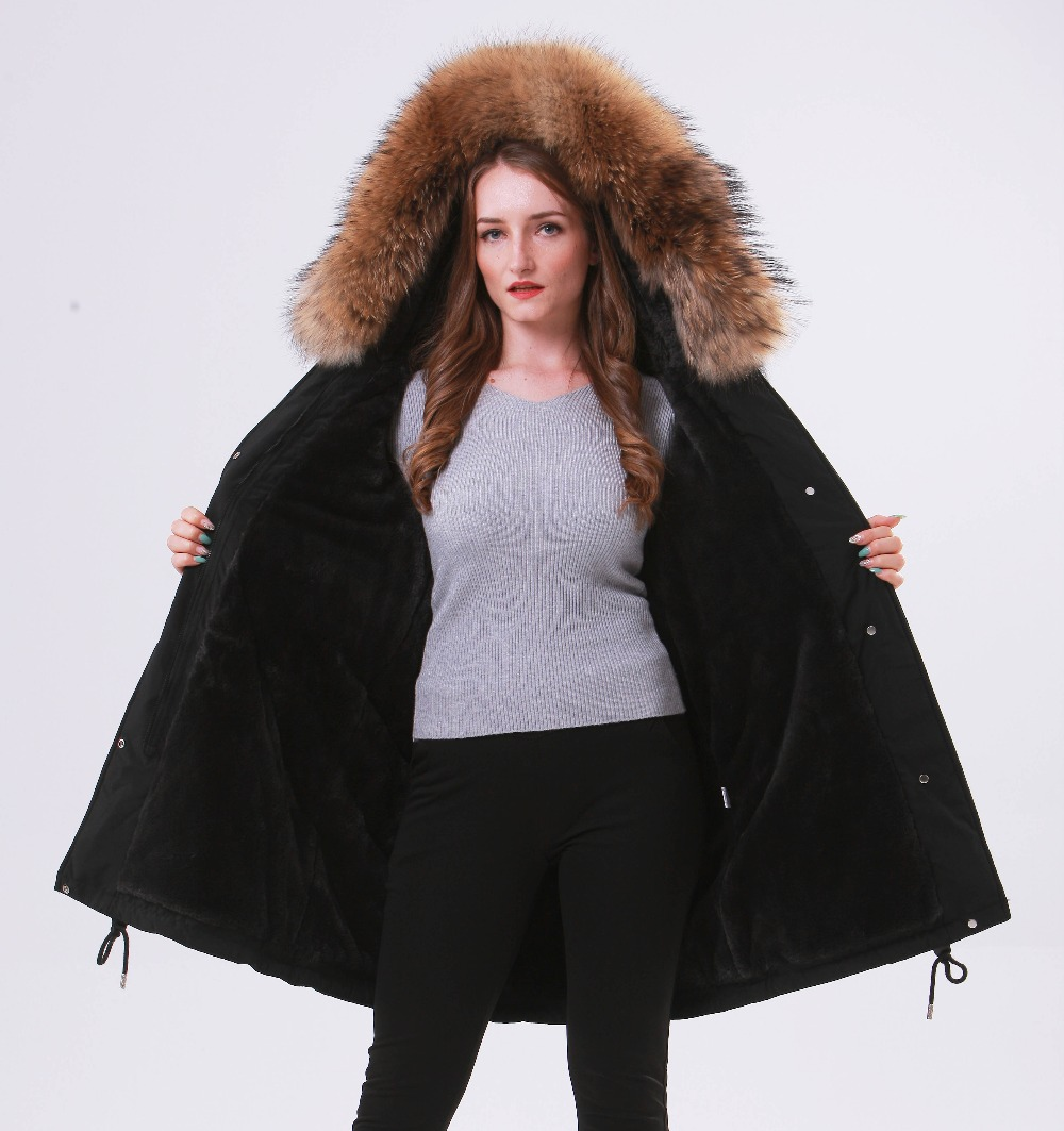Large Natural Raccoon Fur Winter Jacket Women Hooded 19 Long Parkas For Female Thick Slim Down Winter Coat Women Waterproof 7