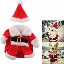 New Winter Christmas Puppy Costume Small Pet Santa Claus Jumpsuit with Hat  christmas dog clothes
