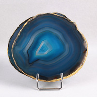 Natural Rock AGATE SLAB Geode Slice Crystal Mineral Coaster Healing high quality Mineral Stone Collection Decor for home DIY hot|Tea Trays|   -
