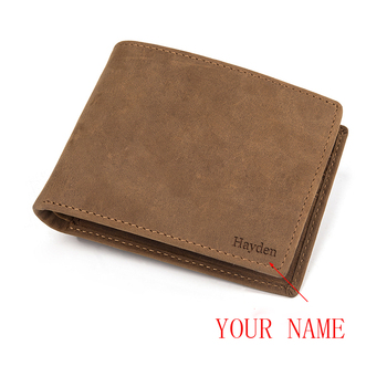 wallet Men Personalized Leather Short Slim Male Purses Money Clip Credit Card Bag Engraved Customize for Son groomsman gift