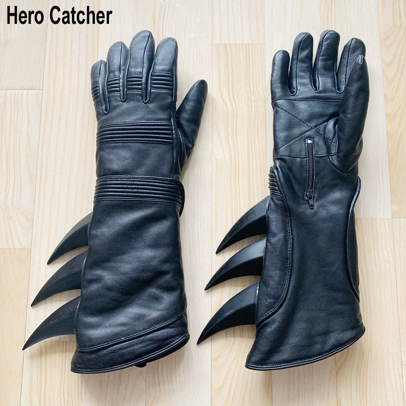 Hero Catcher Genuine Leather Batman Gloves High Quality Batman Cosplay Gloves With Rubber Thorn