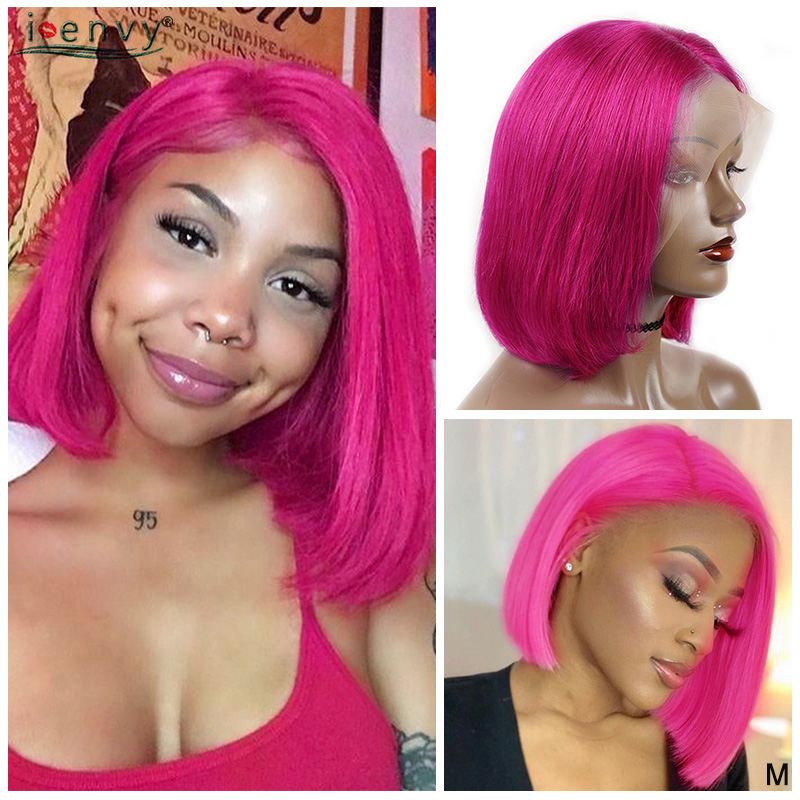Rose Red Lace Front Human Hair Wigs 13x4 Orange Green 613 Blonde Short Bob Wigs For Black Women 150% Brazilian Remy Lace Wigs