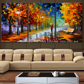 Large Home Decor Handpainted Lover Rain Street Tree Lamp Landscape Oil Painting On Canvas Wall Art Wall Picture For Living Room