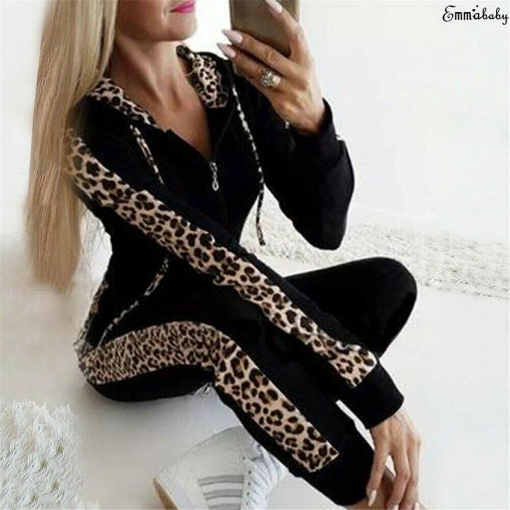 Retro Fashion Casual 2Pcs Women Leopard Long Seleeve Hoodies Sports Tops Pants Tracksuit Sweatshirt Sweat Suit Jogging Hot