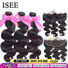 Isee pacotes de cabelo brasileiro, com frontal remy cabelo humano fechamento frontal 13*4 renda com pacotes onda do corpo