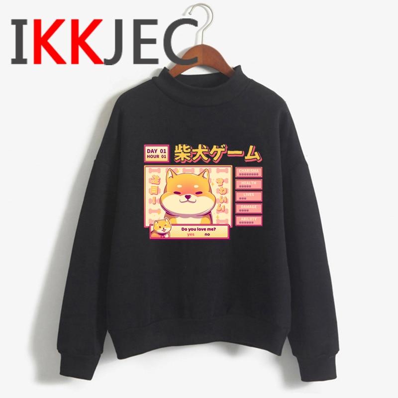 Shiba Inu Kawaii Dogs Funny Cartoon Grunge Aesthetic Hoodies Women Ladies Harajuku Cute Anime Sweatshirt Streetwear Hodoy Female 11