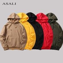 Manga longa moda hoodies dos homens hip hop moletom cor sólida pulôver com capuz agasalho masculino outono inverno velo com capuz