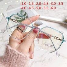 -1.0 1.5 2.0 2.5 3.0 3.5 para-6 terminou miopia óculos mulher dos homens do vintage anti luz azul óculos estudante de vista curta eyewear