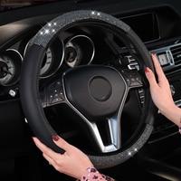 NewArrival 38cm Steering Wheel Cover Summer Breathable Ice Silk Hot Rhinestone Handlebar Cover Korea Cute Interior Accessories