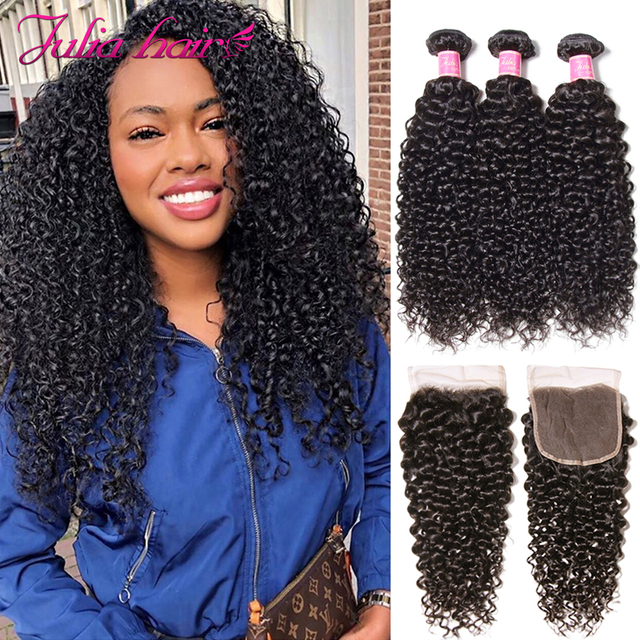 Malaysian Curly Hair Bundles With Closure Pre Plucked Hairline Remy Human Hair Bundles With Closure Julia 3 Bundles With Closure