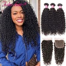 Maleisische Krullend Haar Bundels Met Sluiting Pre Geplukt Haarlijn Remy Human Hair Bundels Met Sluiting Julia 3 Bundels Met Sluiting