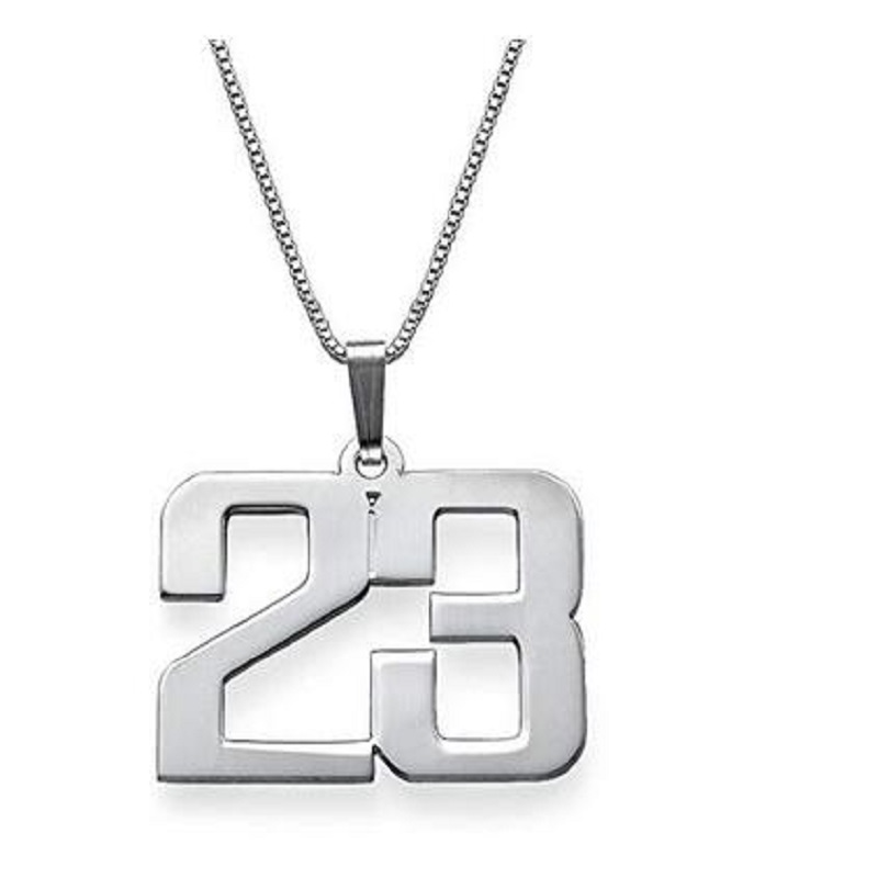 Hip Hop Basketball Legend Number 23 Necklaces & Pendants Custom Your Lucky Number Personalized Chain Necklace For Women Men