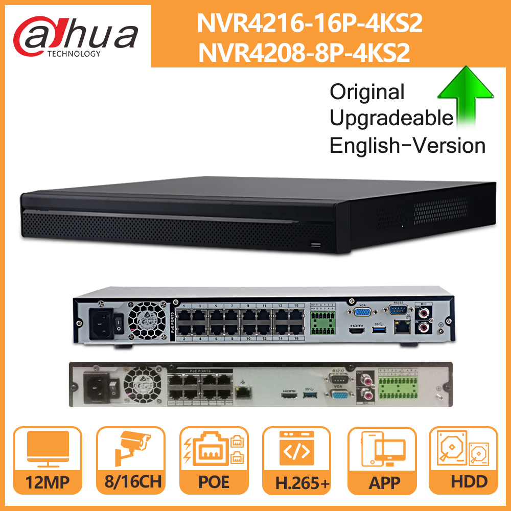 Dahua NVR 8CH 16CH 4K NVR4208-8P-4KS2 NVR4216-16P-4KS2 With HDD PoE Port4K POE H.265 2 SATA For IPC IP Camera Security System
