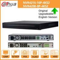 Dahua NVR 8CH 16CH 4K NVR4208-8P-4KS2 NVR4216-16P-4KS2 avec disque dur PoE Port4K POE H.265 2 SATA pour système de sécurité de caméra IP IPC
