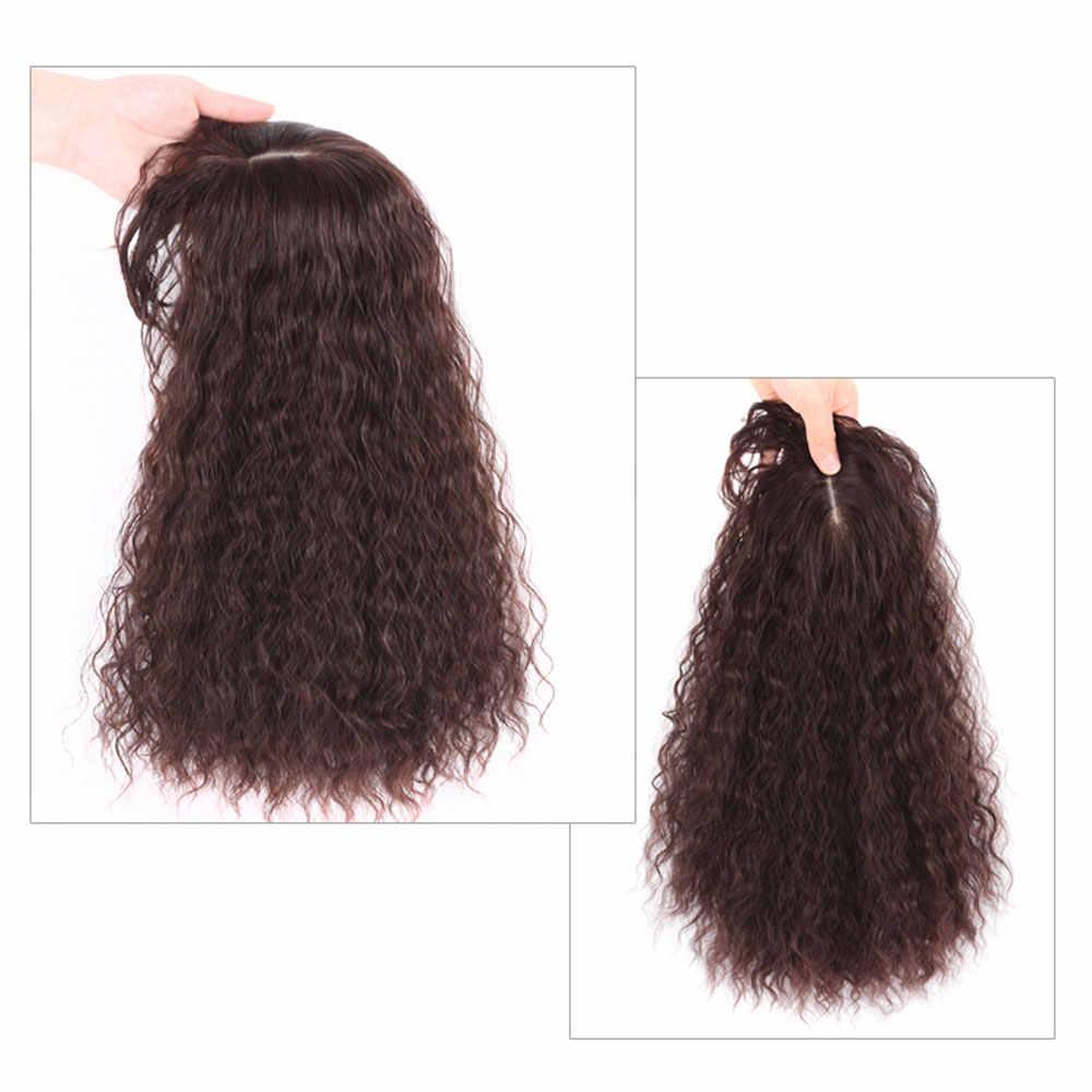 Бразильской кукурузы Горячая Fringe верхнее закрытие заколки для волос с челкой для черная Для женщин 25/35 см, перуанские волнистые человеческие волосы, волосы на заколках в накладки из искусственных волос на заколках