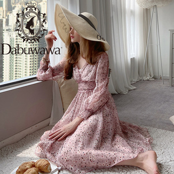 Dabuwawa Sweet V-Neck Floral Print Chiffon Dress for Girls Lady Women  New Puff Sleeve Long Ruffles Midi Dresses DN1ADR019 bell sleeve floral chiffon midi dress