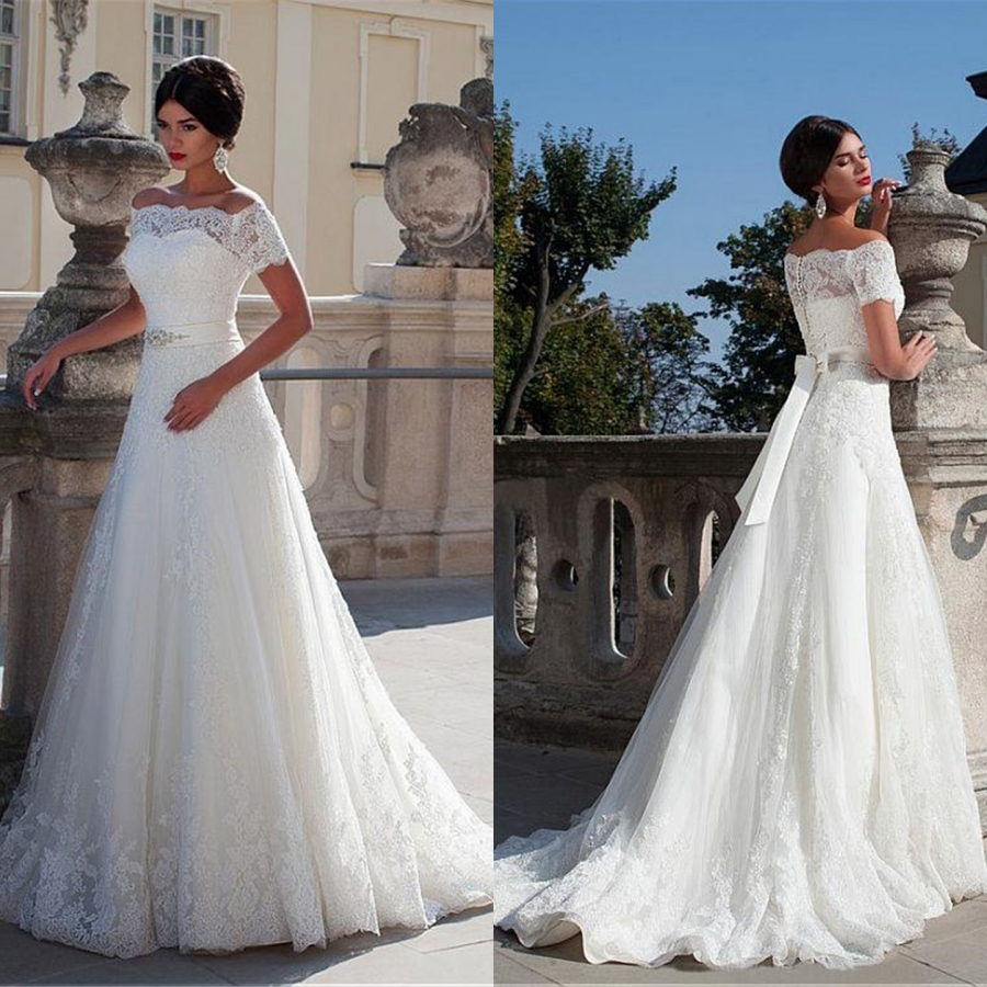 Us 1056 20 Off2019 New White Boat Neck Cryatal Sashes Applique Lace Wedding Dress Short Sleeve Robe De Mariee Wedding Gowns In Wedding Dresses