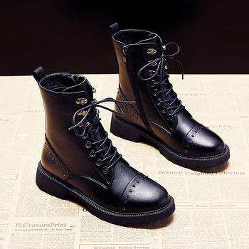 Autumn Winter Flat Patent Leather Women's Short Boots All-match Plus Velvet British Style Non-Slip Motorcycle - discount item  45% OFF Women's Shoes