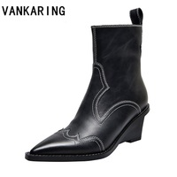 zipper wedge sexy ankle boots women pointed toe embroidery black genuine leather ankle boots for women botines brand botas mujer