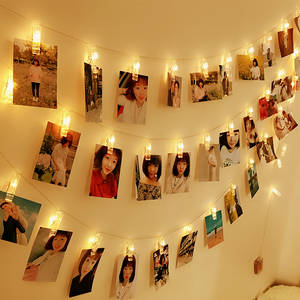 String-Light Picture-Card Wall-Decoration Hanging Display Photo with Clips Home Bedroom