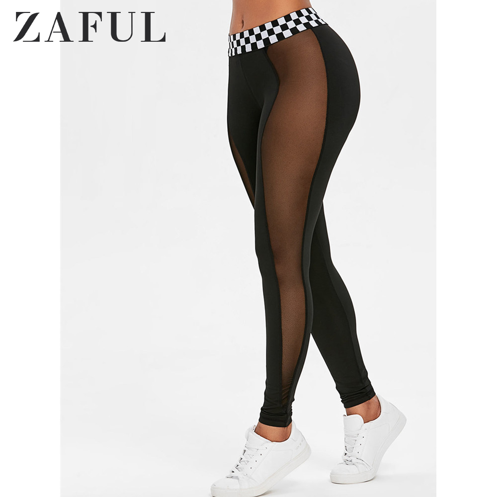 ZAFUL Mesh Panel Contrast Waistband Leggings 2019 Fashion Women Leggings Slim Elasticity Leggings Fitness Leggins Woman Pants