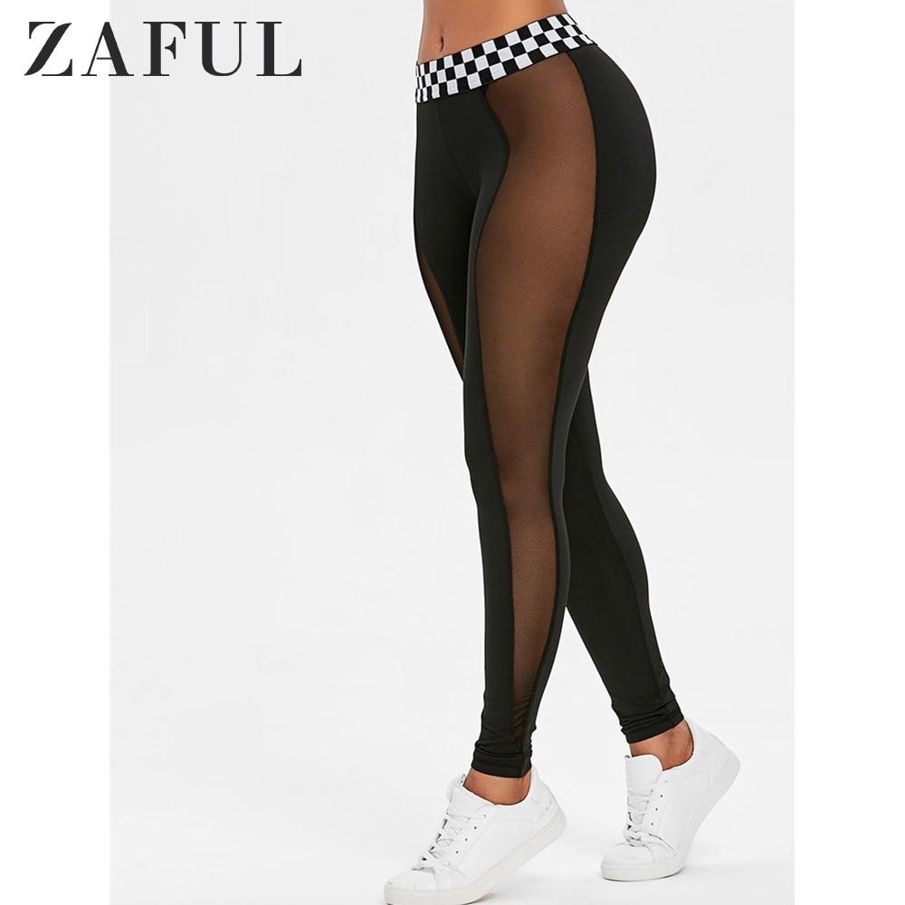 ZAFUL Mesh Panel Contrast Waistband Leggings 2019 Fashion Women Leggings Slim Elasticity Leggings Fitness Leggins Woman Pants