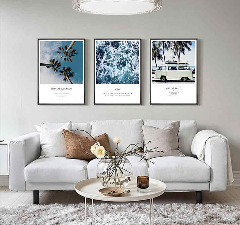 Scandinavian Tropical Landscape Posters Prints Modern Sea Beach Bus and Coco Nut Tree Wall Art Canvas Painting Decor Pictures