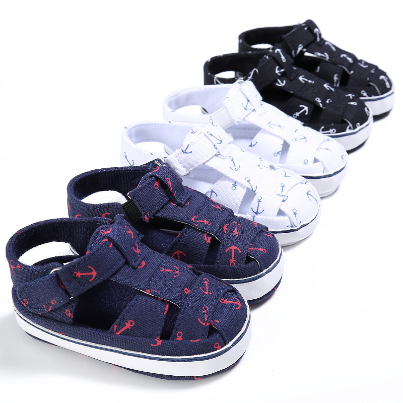 Baby Shoes For Newborn Print Anchor Pattern Infant Toddler Soft Sole Shoes Canvas Sokken 2019 New Arrival First Walker For 0-18M