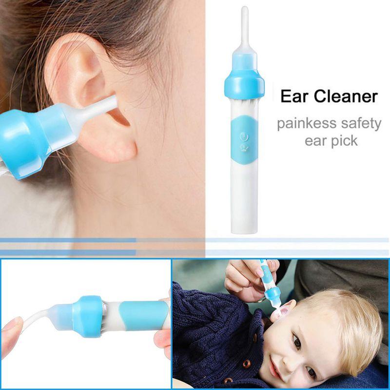 Electric Ear Wax Cleaner Earwax Removal Swab Cleaning Curette Ear Care Kit Ear-pick Clean Tool Soft Head