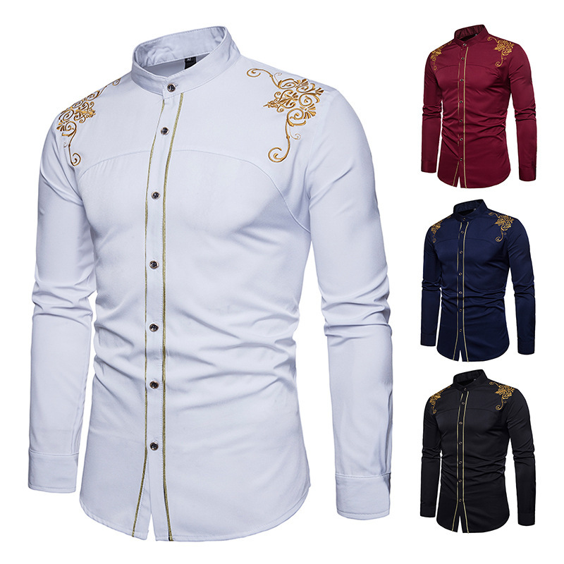 Ouma AliExpress New Style MEN'S Long-sleeved Shirt Slim Fit Large Size Embroidered Shirt MEN'S Top