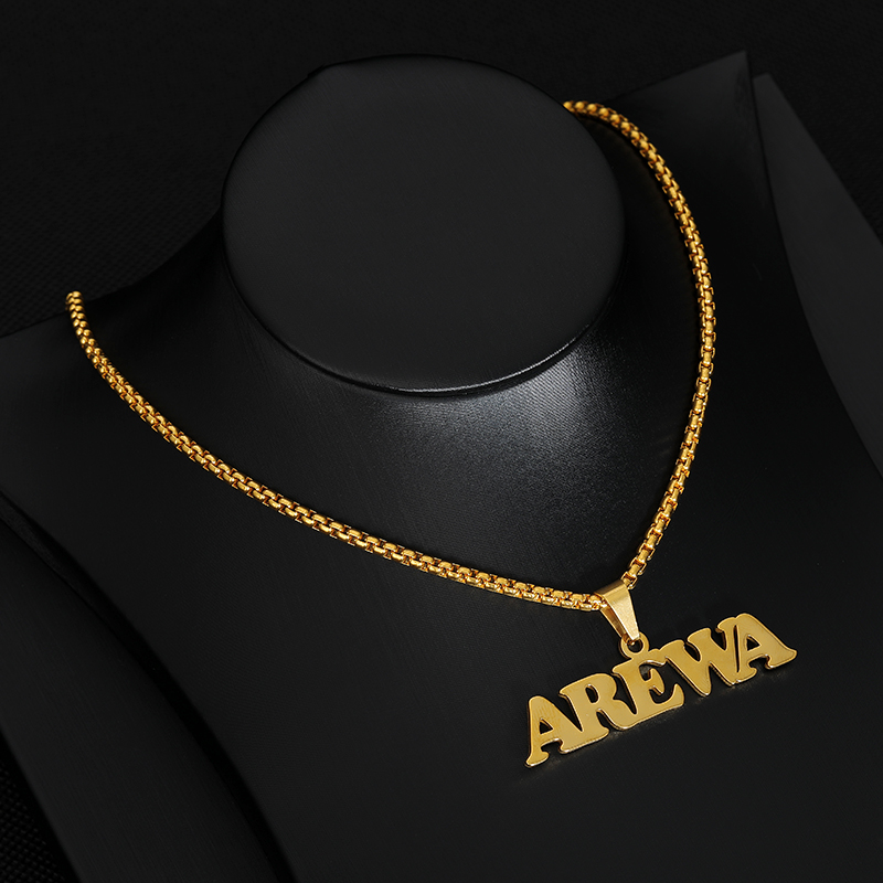 Gothic Jewelry Custom Name Necklace Stainless Steel Pendant Gold Long Bead Chain Personalized Nameplate Necklaces Women Men Gift