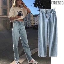 Увядшая Мода блоггер high street винтажный промытый Асимметричный пояс мама Джинсы женские с высокой талией джинсы бойфренды для женщин
