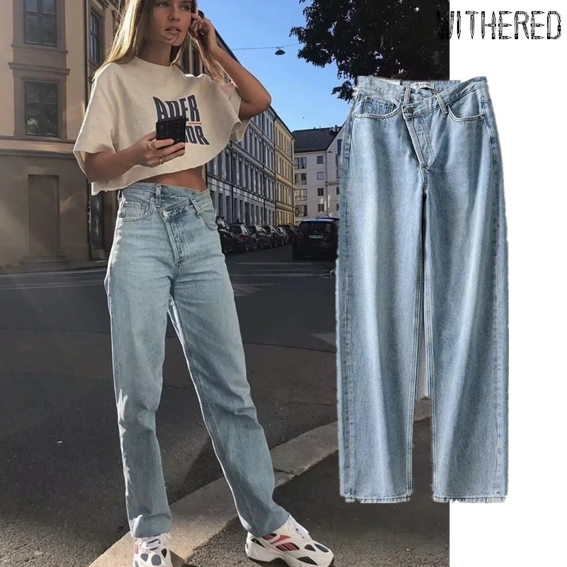 Withered Fashion Blogger High Street Vintage Washed Asymmetric Waist Mom Jeans Woman High Waist Jeans  Boyfriend Jeans For Women