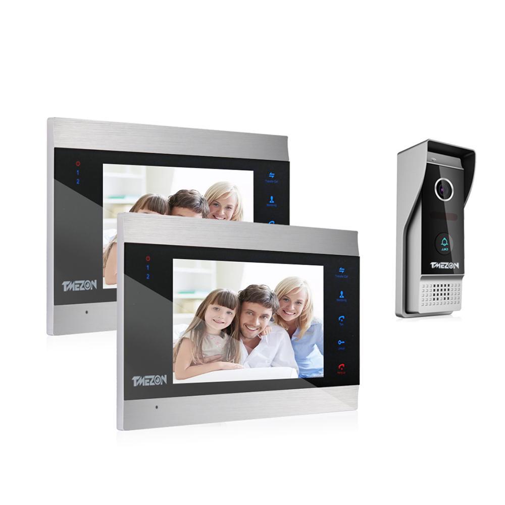 TMEZON 7 Inch TFT Wired Smart Video Doorbell Intercom System with 2 Night Vision Monitor + 1x1200TVL Rainproof Door Phone Camera