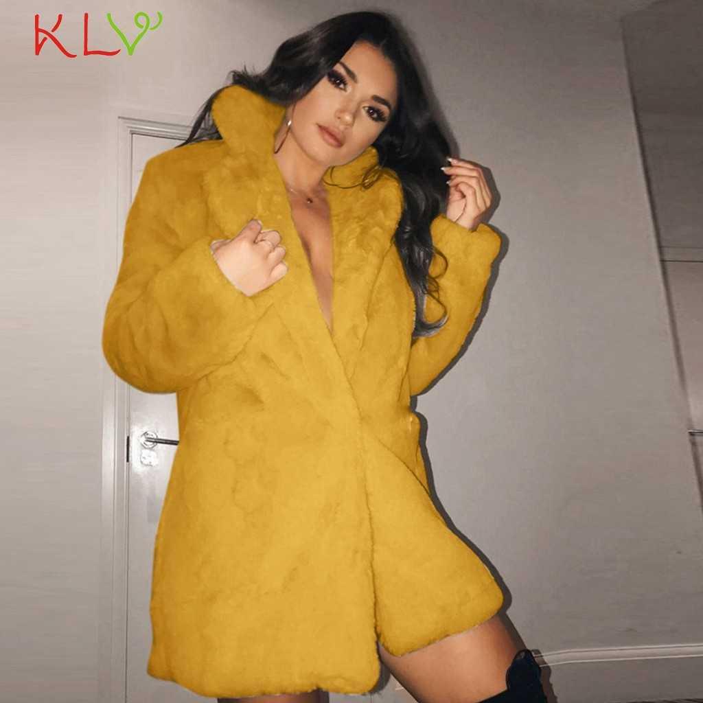 Kurtka damska Faux futro zimowy ciepły pluszowy płaszcz z polaru gruby z długim rękawem wiatrówka nieformalne okrycie wierzchnie ubrania damskie Plus rozmiar 19Oct