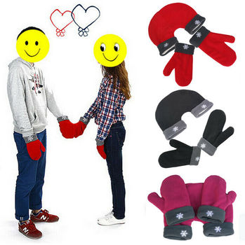 1 Set Romantic Sweethearts Lovers Gloves Women Men Winter Thickening Warm mittens  Polar Fleece Mittens For Lovers Couple Gift 1