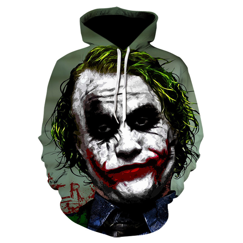 New Joker Funny Hoodie Halloween Crazy Joker Suicide Squad Deadshot Male Sweatshirts Men Brand Hoodies Men 3D Printing Hoodie Ca